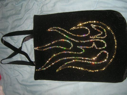 сумка формата А3 для Яны из бархата, аппликация - пайетки. сумка.