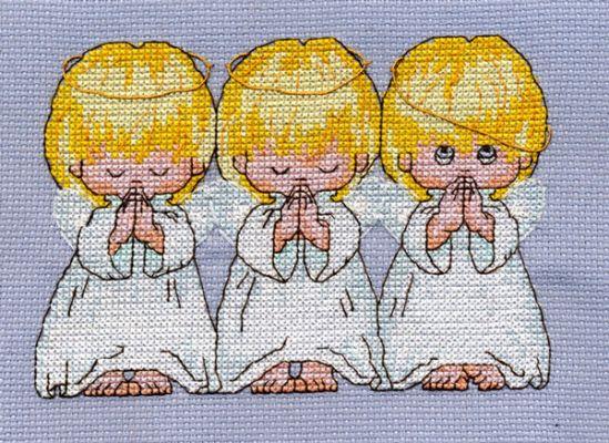 Знаменитейшая среди вышивальщиц примета - вышивка трех ангелочков от фирмы Dimensions - Almost Perfect...